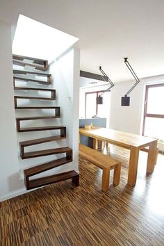 Interesting staircase design to add character to your home. #HappyHome