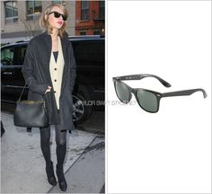 Arriving at the Baryshinikov Arts Center | New York City, NY | March 24, 2014 Ray-Ban 'Wayfarer Liteforce Sunglasses' - $185.00 Taylor's otherwise bundled up ensemble was offset by a pair of her...