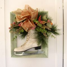 Ice Skate Framed Front Door or Wall Hanging for the Christmas Holiday. A Unique Wreath. $42.00, via Etsy.