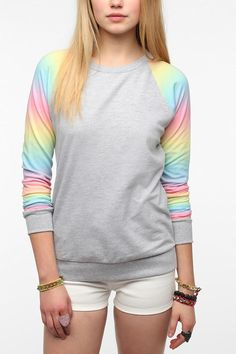 Pins And Needles Rainbow Sleeve Sweatshirt Online Only  urban outfitters