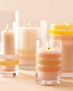 washi tape votives - add to the mason jar candles ... stripes+glow+easy+cheap.