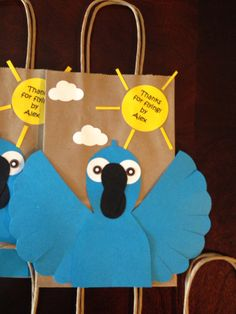 Boy and Girl treat bags for a RIO, bird, blu, blue macaw, Hawaiian inspired party with label on Etsy, $21.50