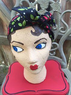 Pinup dolly bow cherry bandana classic retro rockabilly rockabella rockabetty