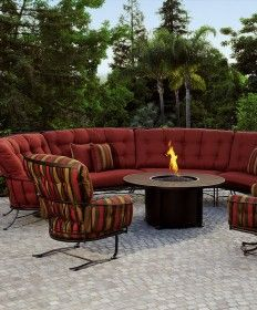 Shop this ow lee monterra wrought iron sectional firepit lounge set from our top selling OW Lee lounge sets. PatioLiving is your premier online showroom for patio lounge and high-end outdoor furniture. Patio Furniture Redo, Fire Pit Furniture, Outdoor Furniture Sets, Furniture Ideas, Iron Furniture, Outdoor Seating, Outdoor Rooms, Outdoor Living, Outdoor Fire