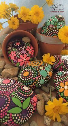 Hand painted stones - flower motif - garden art - rock art - painted rocks - nature art -natural home decor - mandala designs - ethereal & earth Pebble Painting, Pebble Art, Stone Painting, Painting Flowers, Painting Art, Rock Painting Ideas Easy, Rock Painting Designs, Art Designs, Stone Crafts