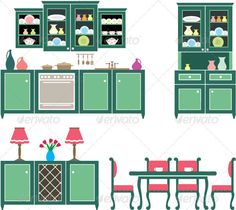 Set of Kitchen Furniture  #GraphicRiver         Vector illustration. It is created in the CorelDraw program.