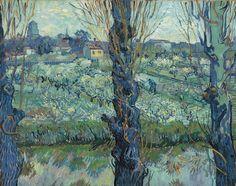 pomar em flor com vista de Arles, de abril de 1889. Óleo sobre tela. Neue Pinakothek, Munique