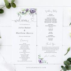 Purple Wedding Program Template, Printable Order of Service, 100% Editable Text, Flat Program, Diy, INSTANT DOWNLOAD, SUZY by DIYPaperPrints on Etsy