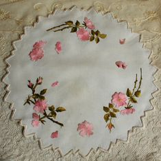 Antique Society SILK Embroidery Large Doily by TheFrenchLaundry, $34.00