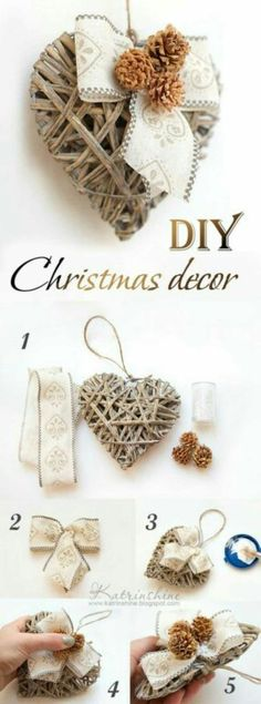 Could jazz up my hearts like this but with red ribbon and maybe white jingle bells! Diy Christmas Ornaments, Holiday Crafts, Christmas Wreaths, Christmas Villages, Vintage Ornaments, Vintage Santas, Heart Diy, Heart Crafts, Shabby Chic Christmas
