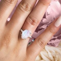 Moonstone Ring with Diamonds - Mirth – Moon Magic Crystal Jewelry, Crystal Ring, Gemstone Jewelry, Crystal Engagement Rings, June Birth Stone, Crystal Wedding, Unique Rings, Bridal Jewelry