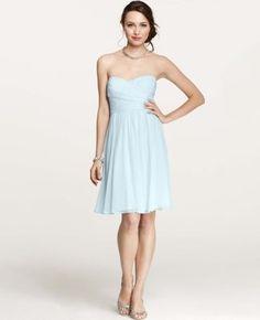 Silk Georgette Sweetheart Strapless Dress - Wedding Dresses by Ann Taylor - Loverly