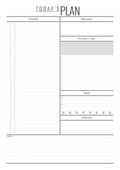 Today's Plan template with hourly schedule Weekly Schedule Planner, Daily Schedule Template, Weekly Planner Printable, Planner Template, Meal Planner, Happy Planner, Creating A Bullet Journal, Bullet Journal Books, Bullet Journal Ideas Pages