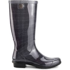 UGG Women's Shaye Plaid Black Rain Boots (100 CAD) ❤ liked on Polyvore featuring shoes, boots, black, mid-calf boots, wellies boots, rain boots, wellington boots, black calf length boots and black rubber boots