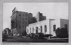 RICHMOND-CA-Post-Office-Street-Scene-California-Vintage-Postcard-1942