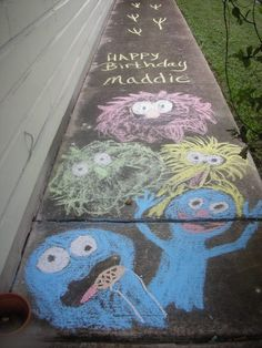 elmo-birthday-party-sidewalk chalk drawing