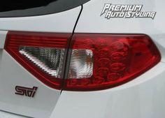 2008-2014 Subaru WRX & STI Hatchback Red Tail Light Tint Overlays w/ Reverse & Blinker Cut Outs