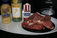 {A1 Steak in the Crockpot Slow Cooker}..... 2 tablespoons A-1 sauce  2 tablespoons dijon mustard  1/4 cup white wine