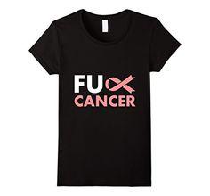 Women's Fuck Cancer Tee Shirt Ribbon Survivor Awareness L...…