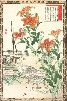 White Ducks; Japanese woodblock print from the 1883 1st Edition Album of Flowers…