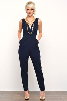 Tonia V Neck Jumpsuit in Navy