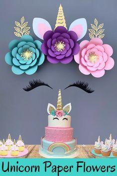 Unicorn Baby Shower Decorations, Diy Unicorn Party, Unicorn Party Supplies, Birthday Party Decorations, Spongebob Birthday Party, Unicorn Themed Birthday Party, Birthday Fun, Summer Crafts For Kids, Flower Backdrop