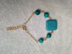 Gold and Blue Gemstone Bracelet, could work as an anklet, ankle bracelet too!  Turquois!