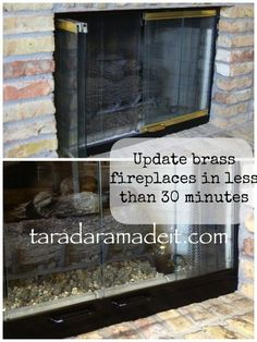 paint brass fireplace doors. Update brass fireplace in 30 MINUTES  You don t even have to remove the doors Total DIY you can do Revamp your Ugly Fireplace Door Spray painting