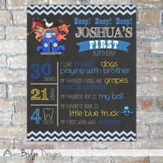 {The perfect touch to celebrate your little ones birthday party in Little Blue Truck style!}    This listing is for a high resolution digital $16