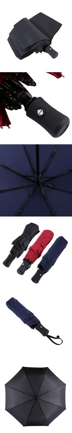 3 Colors 94*66cm Durable Fashionable Advanced Fully-Automatic UV-proof Three Folding Business Solid Sunshade Rain Umbrella