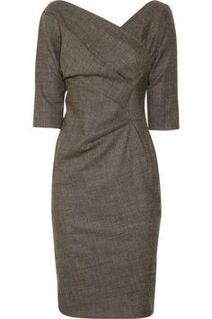 Lela Rose | Wool-blend wrap-effect dress | NET-A-PORTER.COM