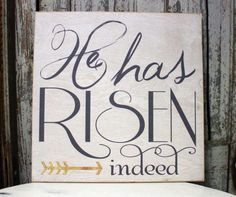 Easter Sign He is Risen Sign Easter Decor Easter by MadiKayDesigns