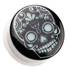 Glow in the Dark Sugar Skull Single Flared Ear Gauge Plug Body Jewelry Body Jewelry Piercing, Ear Jewelry, Skull Jewelry, Jewlery, Hippie Jewelry, Ear Tunnels, Tunnels And Plugs, Plugs Earrings, Gauges Plugs