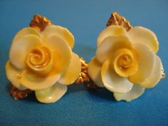 Vintage Hand Painted Bone China Yellow Rose Earrings