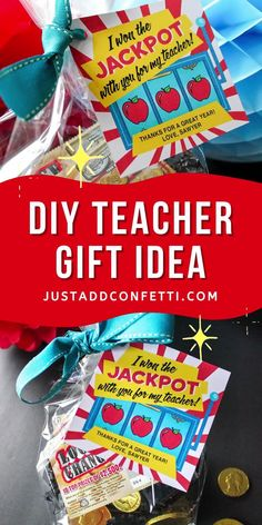 Looking for an adorable teacher gift idea for teacher appreciation week or end of the year? I've got you covered with this lottery ticket teacher gift idea. This jackpot printable tag is available in my Just Add Confetti Etsy shop. Pair this printable gift tag with lottery tickets and chocolate coins, candy or treats! Such a fun teacher gift in minutes! What an easy DIY teacher gift! Be sure to head to justaddconfetti.com for even more simple teacher gift ideas.