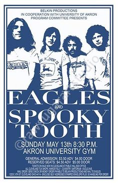 Eagles/Spooky Tooth 1973 Cleveland/Akron Concert Poster