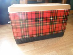 Red Scotch Plaid Tin Picnic Cooler Ice Chest
