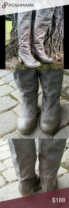"""""""Rodeo"""" by Steve Madden Tall,  grey distressed,  super soft nubuck  (genuine leather). Pull on. Stacked wooden heel.   These look great with leggings and a sweater or a cute summer dress.   Worn a handful of times. Great condition. Steve Madden Shoes Over the Knee Boots"""