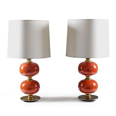 Table lamps in glass and brass by Tranås Stilarmatur
