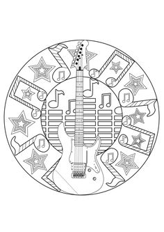 A Rockn'roll Mandala for a coloring page to music, From the gallery : Mandalas
