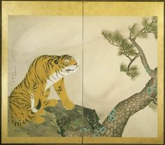 """Maruyama Okyo. """"Tiger"""" (left screen) from """"Tiger and Dragon"""" pair of two panel Japanese folding screens. 1781. Ink, colors, and gold on paper. Detroit Institute of Art."""