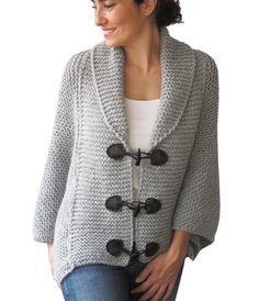 Plus tamaño Hand Knitted Poncho gris plata con cuerda de por afra