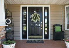warm tan house front door - house numbers Google Search                                                                                                                                                      More
