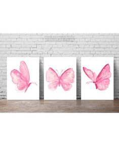 Watercolor Butterflies Set of 3 Shabby CHic Butterfly Pictures. Baby Pink Girls Nursery Room Decor. Abstract Animal Pink Insects Art Print. Baby