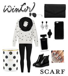 """""""Winter scarf outfit"""" by cheleniak ❤ liked on Polyvore featuring Levi's, Lacoste, Coach, WithChic, LULUS, Ray-Ban, Maison Margiela, CLUSE, Narciso Rodriguez and Kate Spade"""