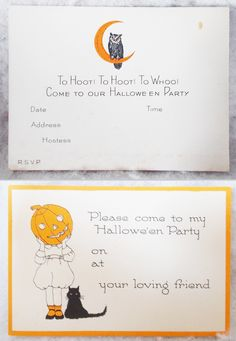 3 + 1 party invitations, 3 owl with moon, one jol-faced girl with black cat ($36) 2017 #vintage #Halloween #collectibles