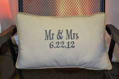 Mr & Mrs Embroidered Pillow. Wedding gift!
