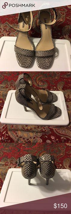 Neiman Marcus Leather Heels Neiman Marcus Snakes Leather ankle  Heels Neiman Marcus Shoes Heels