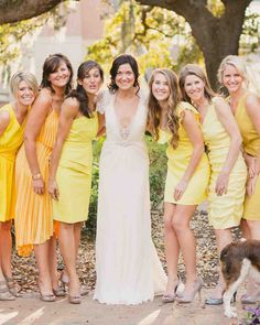 30 Reasons to Love the Mismatched Bridesmaids Look | Martha Stewart Weddings - This bridal party wore a mix of yellow dresses in different shades and styles.