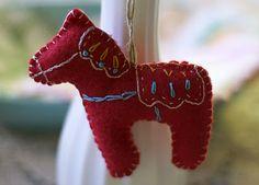 Embroidered felt dala horse ornament #dala #swedish #christmas #felt #ornament